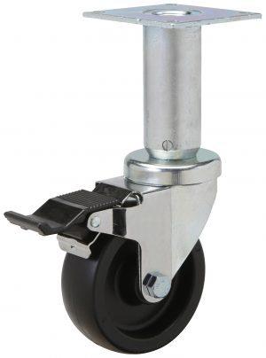 "Caster Grip Ring Stem .860/"" Square x 2-3//16/"" 5/"" x 1-1//4/"". Black Rubber Wheel"